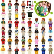 Minifigures Lego-Compatible Fun Favor Set - 24 Minifigures and 14 Weapons/Accessories, Variety Community People and Designed for Pre-school Education, Christmas Gift for Kids