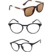 Rich Club Round, Wayfarer Sunglasses(Brown, Clear, Clear)