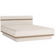 Ágy 160, fehér extra magas fényű HG/tölgy sonoma sötét trufla, LYNATET TYP 92