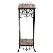 Shilpi Wooden Wrought Iron End Table / Stool