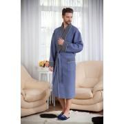 Evateks Однотонный мужской халат из вафельного материала темно-серого цвета Evateks №10022 Темно-серый