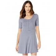 ToadCo Daisy Rib Long Sleeve Henley Dress Flint Stone Stripe