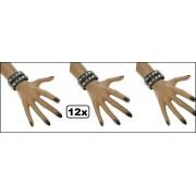 12x Punk armband 2 rijen nagels