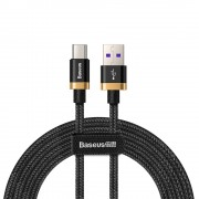 Cablu de date/incarcare Baseus, Purple Gold Red Type-C, 2M 5 A, Negru/Auriu