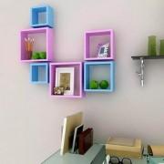 Onlineshoppee Square Nesting MDF Wall Shelf Size(LxBxH-10x4x10) Inch - Pink Blue