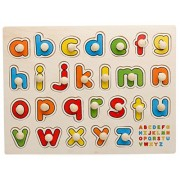 Holzsammlung 26 Pcs Creative Classic Wooden Educational ABC Alphabet Matching Pegged Puzzles for Kids - Perfect Christmas Gift Your