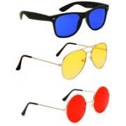 Elligator Aviator, Wayfarer, Round Sunglasses(Blue, Yellow, Red)