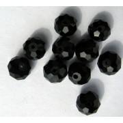 Facetterade glaspärlor - Svarta 10X8mm, 1 sträng