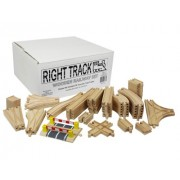 Wooden Train Track Deluxe Set: 56 Assorted Premium Pieces By Right Track Toys - 100% Compatible with All Major Brands including Thomas Wooden Railway System - All Tracks and No Fillers