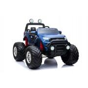 Ford Ranger Monster Truck 4X4, mașină electrică albastră, Telecomandă 2.4Ghz, Pornire lentă, intrare USB / Radio/SD/MP3 cu conectivitate Bluetooth, indicator capacitate baterie, roti uriașe EVA, suspensie, LED-uri, baterie