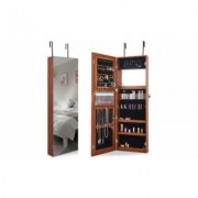 Costway Wall&Door Mounted Jewelry Cabinet Lockable Storage Organizer w/Mirror Brown