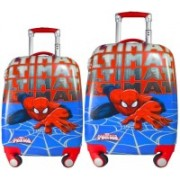 Texas USA set of 2 bags 18 inches and 22 inches SPIDERMAN Printed Polycarbonate 4 wheel Trolley Bag Expandable Cabin Luggage - 22 inch(Red)