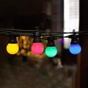 Ghirlanda Luminoasa 5M cu 10 LEDuri Colorate, Cablu Negru, Lumina Calda, Conectabila 30M, de Exterior