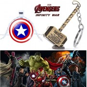 2 Pc AVENGER SET - THOR HAMMER - GOLD COLOUR METAL KEYCHAIN & CAPTAIN AMERICA SHIELD 3D GLASS DOME IMPORTED PENDANT WITH CHAIN ❤ LATEST ARRIVALS - RINGS, KEYCHAINS, BRACELET & T SHIRT - CAPTAIN AMERICA - AVENGERS - MARVEL - SHIELD - IRONMAN - HULK - THOR