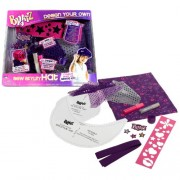 Mga Entertainment Bratz Design Your Own Series Sewing Kit Sew Stylin Hat With Bratz Fabric, Reusable Pattern, Interfacing, Bratz Stencils, Binding, Spool Of Purple Thread, 2 Glitter Pens, 4 Iron On Appliques, 8 Pieces Of Decorative Fabric And Design Your
