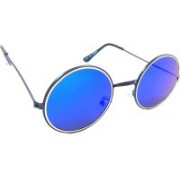 HE Round Sunglasses(Blue, Silver)