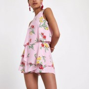 River Island Womens Pink floral tiered frill sleeveless playsuit (Size 14)