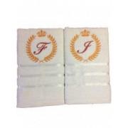 Set 2 prosoape baie personalizat prin broderie cu initiale si coroana pentru el si ea. Dede Brodi Star
