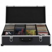 vidaXL CD куфар за 80 диска, алуминий, ABS, черен