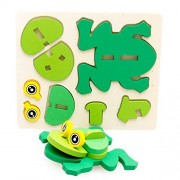 1 Set Wooden Nut Cartoon Animals Building Pairing Blocks Handmade Jigsaw Early Childhood Educational Baby Toys Gifts Frog