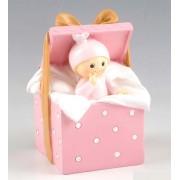 Figura para pastel+hucha bebé Caja Regalo rosa