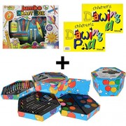 STS KREATIVE KIDS Mega Art & Crafts Set - Childrens Jumbo Craft Box + 52 Piece Hexagonal Silvine A4 Drawing Pad Activity Coloured Huge Arts and Bundle Deal