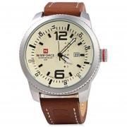Caso De Plata NAVIFORCE NF 9063M Hombre Reloj (Amarillo)