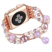 Agate Beads Pearl Watch Bracelet Band Replacement for Apple Watch Series 4 40mm/3/2/1 38mm - Gold / Purple