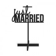 Confetti Just Married Acrylic Sign - Black