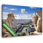 Párizsi látkép a Notre Dame szobraival (40x25 cm, Vászonkép )