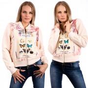 V&V Dámská mikina Just Butterfly - krémová (S) - V&V