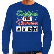 Bellatio Decorations Foute Kersttrui Christmas for dummies blauw voor heren