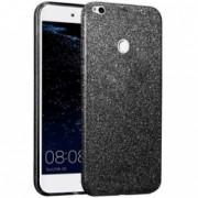 Pachet Huawei P8/P9 Lite 2017 Husa IMPORTGSM Silicon Glitter Negru + Folie Sticla securizata Tempered Transparent