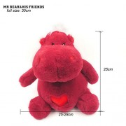 Mr. Bear & His Friends Kawaii Soft Toy Stuffed Animals Hippos Plush Hippopotamus Riverhorse Dolls Huggable Heart Hippo Toys for Children Gifts - Wine-Red