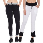 Cliths Women's Cotton Track Pants for Women|Black Grey White Black Solid Cotton Sport Lowers For Women/Girls-Pack Of 2