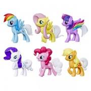 Set 6 figurine ponei cu coada curcubeu My Little Pony