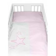 Baby Nellys Povlečení do postýlky Baby Stars - růžové, vel. 135x100 cm