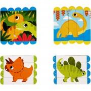 Set puzzle-uri din betisoare lemn Dinozauri Fiesta Crafts, 18 piese, 12 x 3 cm, 2 ani+