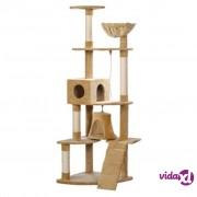 vidaXL Penjalica grebalica za mačke 191 cm od kremnog pliša