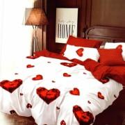 Set Lenjerie Finet Satinat 6 Piese Pat 2 Persoane Luxury Pucioasa Style Diamond Hearts