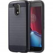 Funda Case Para Motorola Moto G4 Plus / Moto G4 Doble Protector De Uso Rudo Plástico Con Aspecto Metalico (Armor) - Negro