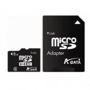 Secure Digital Card micro SDHC 8GB class4 ADATA, adaptor SD (AUSDH8GCL4-RA1)