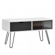 [en.casa] Cómoda moderna / Mesa consola con un cajón y un compartimento diseño retro estilo escandinavo (80x40x45cm) - blanco