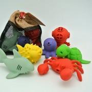 BeginAgain Bathtub Pals 6 Pc Gift Set - Eco Friendly Rubber Bathtub Toy - Crab, Diver, Octopus, Puffer Fish, Sea Turtle, Shark