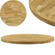 vidaXL Blat de masă, lemn masiv de stejar, rotund, 44 mm, 900 mm