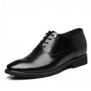 Zapatos De Ecocuero Para Hombre Aumento De La Altura Negocios Moda - Negro