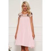 Rózsaszínű StarShinerS alkalmi bő szabású ruha béléssel muszlinból csipkével és flitteres díszítéssel