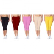 Jakqo Women's Cotton Bio-Wash Capri (Free Size Pack Of 5 Black Maroon Baby Pink Tan Light Yellow)