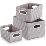 ZELLER Koše pro skladování, organizér, 3 ks, šedá barva, ZELLER