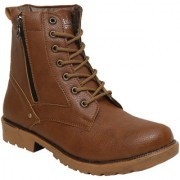 Shoe Island Rider-X Leatherette Tan Brown Edition Zipper High Ankle Length Long Boots